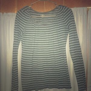 Ann Taylor Striped Scoop Neck